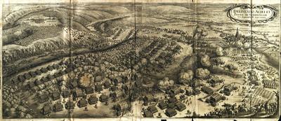 Matthäus Merian d. Ä. (1593–1650): Schlacht bei Nördlingen 1634, Kupferstich, 710 x 290 mm, 2 Platten; Bildquelle: ders. u.a., Theatrum Europaeum, vol. 3, Franckfurt am Mayn 1670,  Digitalisat Universitätsbibliothek Augsburg, Signatur 02/IV.13.2.26-3, Tafel nach S. 334, http://www.nbn-resolving.de/urn:nbn:de:bvb:384-uba000236-6, https://media.bibliothek.uni-augsburg.de/node?id=100213.