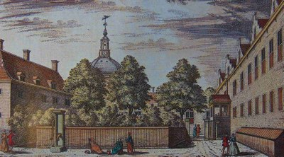 A. Rademaker (1675–1735), Vue de la Maison des Insensés se regardant par derrière/Gesigt van het Dol-huys op de binnen plaats; coloured engraving, 1732; source: Museum Boerhaave, Leiden, www.museumboerhaave.nl.