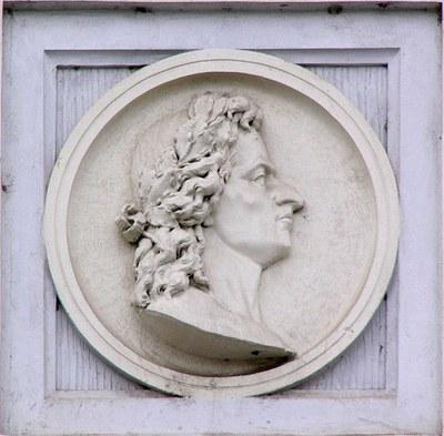 Relief von Matthias Corvinus in der Štítného Straße, Olmütz, Tschechien.
