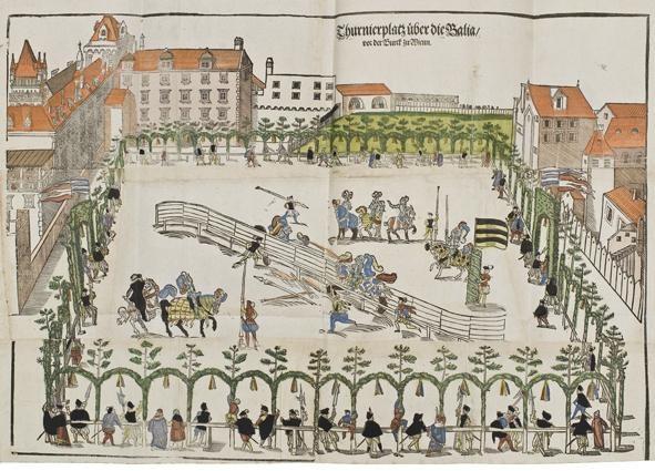 Heinrich Wirrich (16. Jh.), Turnier anlässlich der Wiener Hochzeit zwischen Karl von Innerösterreich und Maria von Bayern (1571); Bildquelle: Österreichisches Museum für Angewandte Kunst, Foto © MAK/Georg Mayer