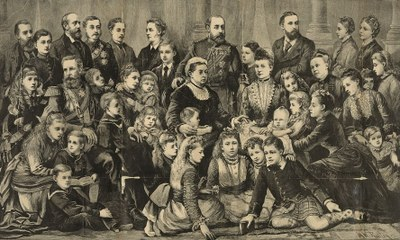 Her majesty Queen Victoria and the members of the royal family, unbekannter Künstler, Holzschnitt, 1877; Bildquelle: Library of Congress, Digital ID:  http://hdl.loc.gov/loc.pnp/pga.02489