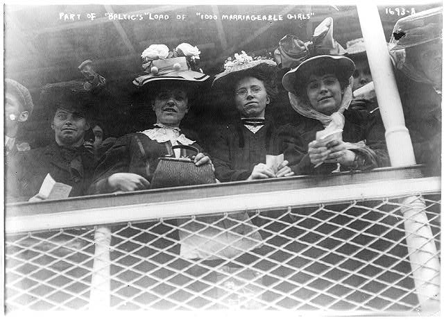 Part of BALTIC's boatload of 1000 marriageable girls, black-and-white photograph, 1907, unknown photographer; Library of Congress, George Grantham Bain Collection, Reproduction Number: LC-USZ62-30518 (b&w film copy neg.), http://hdl.loc.gov/loc.pnp/cph.3a31187.