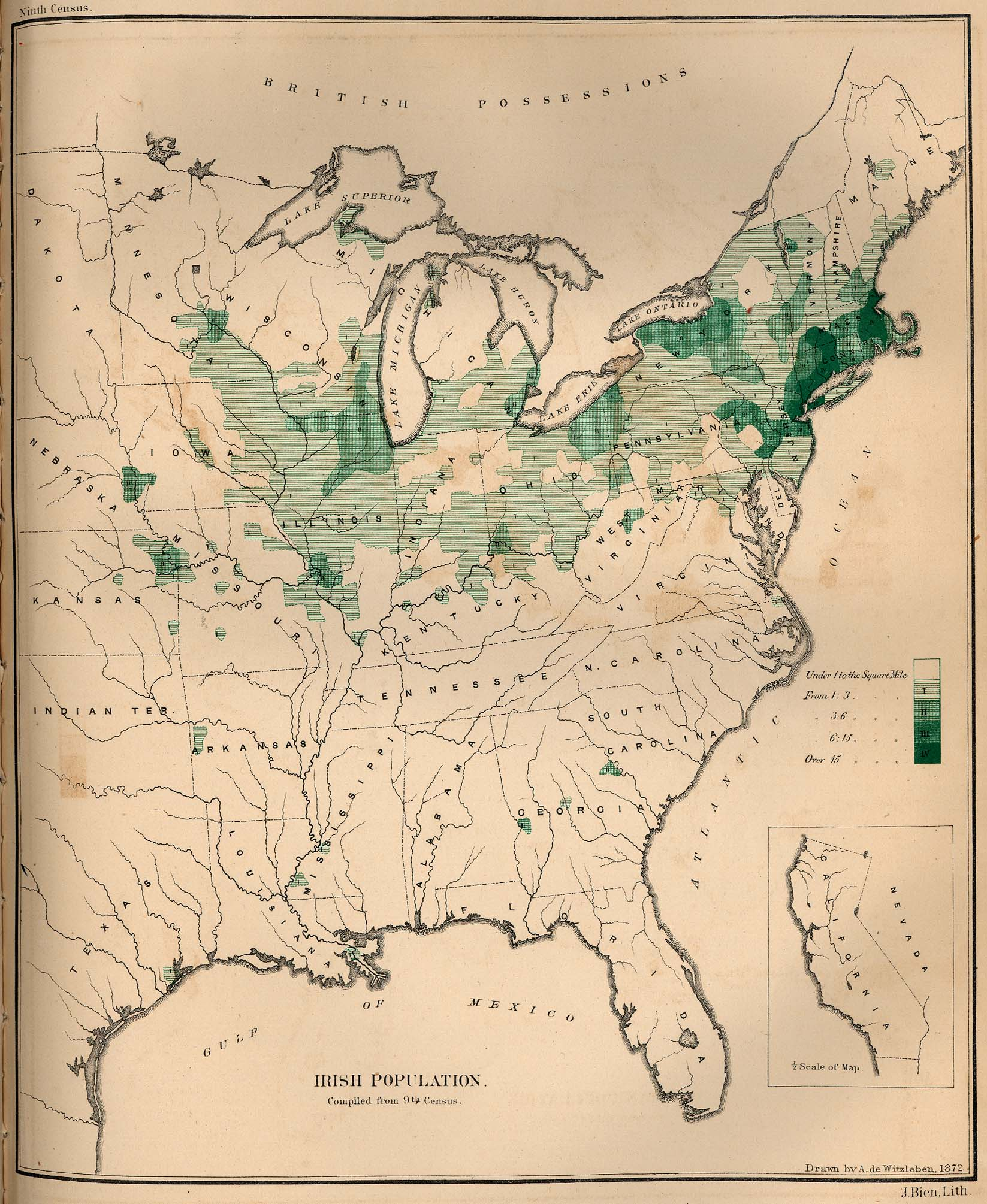 Irish population in 1872, map, drawn by A. de Witzleben, J. Bien lith. New York; source: The Statistics of the Population of the United States, Compiled from the Original Returns of the Ninth Census, 1872; University of Texas Library, Perry-Castañeda Library, Map Collection, http://www.lib.utexas.edu/maps/historical/irish_pop_1872.jpg.