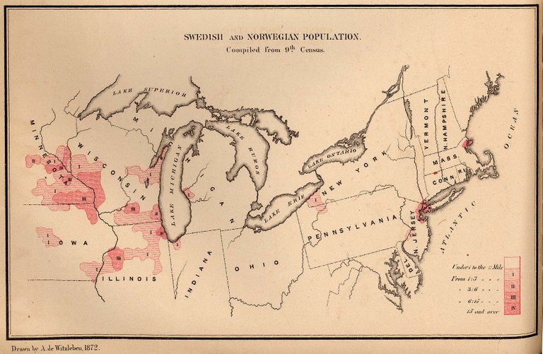 Swedish and Norwegian population in 1872, map, drawn by A. de Witzleben, J. Bien lith. New York; source: The Statistics of the Population of the United States, Compiled from the Original Returns of the Ninth Census, 1872; University of Texas Library, Perry-Castañeda Library, Map Collection, http://www.lib.utexas.edu/maps/historical/swede_norway_pop_1872.jpg.
