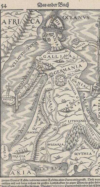 Erdteilallegorie Europa, Kupferstich nach Johannes Putsch (1516–1542), unbekannter Künstler, 16. Jahrhundert; Bildquelle: Privatbesitz.