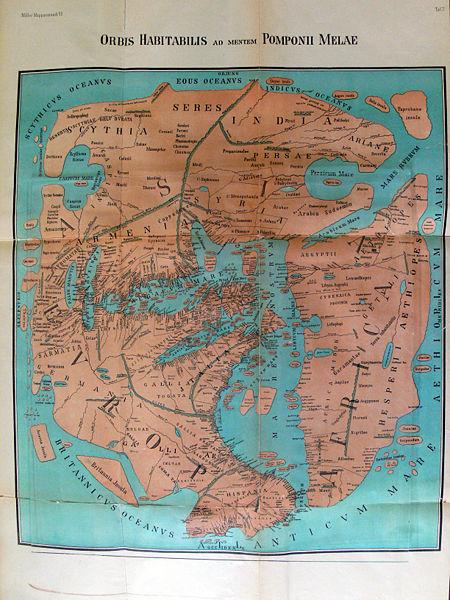 Weltkarte des Pomponius Mela (43 n. Chr.) in einer Rekonstruktion von 1898; Bildquelle: Miller, Konrad: Mappae mundi: Die ältesten Weltkarten, Stuttgart 1898, vol. 6: Rekonstruierte Karten : Mit 58 Clichés (darunter 49 Karten) im Text und 8 Kartenbeilagen, wikimedia commons http://de.wikipedia.org/w/index.php?title=Datei:Karte_Pomponius_Mela.jpg&filetimestamp=20080513195402.