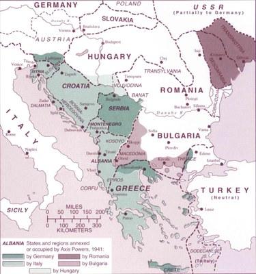 Karte des von den Achsenmächten dominierten Balkans (1941–1944) IMG