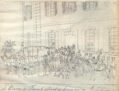 Ausfahrt Jakob Franks in Offenbach, unbekannter Künstler (nach einer zeitgenössischen Zeichnung); Bildquelle:  Jüdisches Lexikon, Berlin 1928, vol. 2, Sp. 719–720.