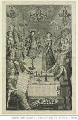 Bal à la Françoise, kennt Fr. Rentsch aus Buch das Genre (Grafik, Stich etc ?), unbekannter Künstler, 1682; Bildqulle : http://www.gallica.bnf.fr, Permalink: http://gallica.bnf.fr/ark:/12148/btv1b69454798.