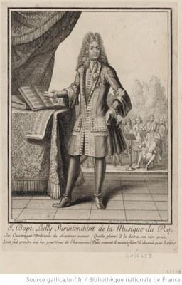 Henri Bonnart (ca. 1642–1711), Portrait von Jean-Baptiste Lully (1632–1687), Druckgrafik; Bildquelle: www.gallica.bnf.fr, Permalink: http://gallica.bnf.fr/ark:/12148/btv1b8431721s.