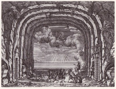 Israël Silvestre (1621–1691), Stich nach François Francart, Les Noces de Pélée et de Thétis, 1. Akt, 3. Szene, 1654; Bildquelle: http://www.gallica.bnf.fr, Permalink: http://gallica.bnf.fr/ark:/12148/btv1b84043203/f1.