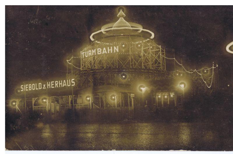 Sieboldts Rigi-Turmbahn, Schwarz-Weiß-Photographie, um 1925, unbekannter Photograph; Bildquelle:  Markt- und Schaustellermuseum Essen