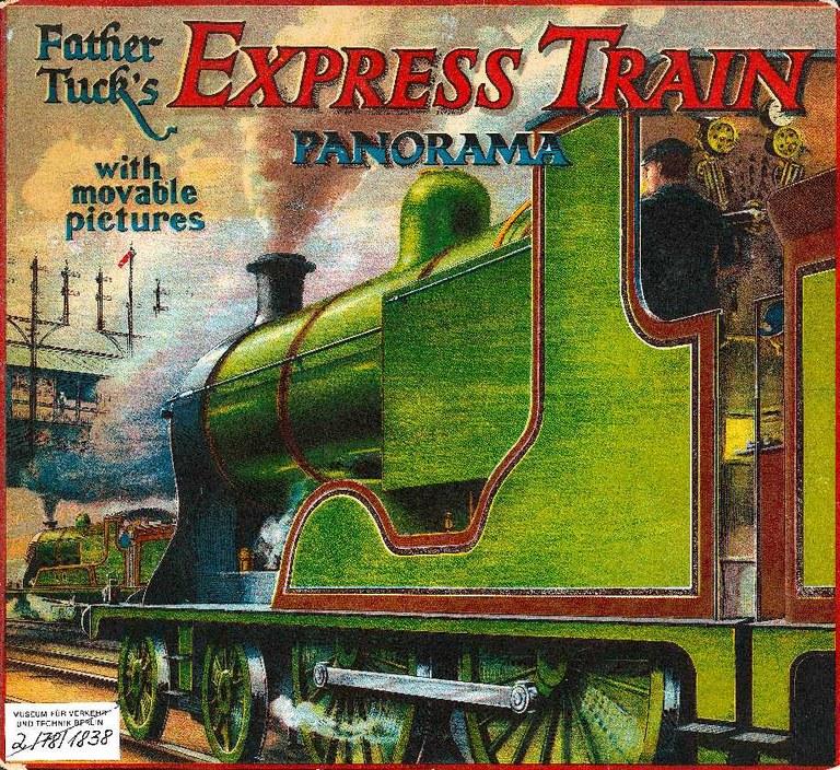 """Brettspiel """"Express Train"""" für den englischen Markt, deutscher Hersteller um 1910. Mit freundlicher Genehmigung des Deutschen Technikmuseums Berlin, Historisches Archiv."""