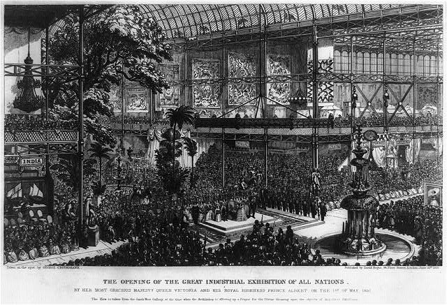 Erste Weltausstellung (Great Exhibition of All Nations, Crystal Palace) London 1851, Graveur: George Cruikshank (1792-1878), Bildquelle: Library of Congress (Reproduction Number: LC-USZ62-93899), http://hdl.loc.gov/loc.pnp/cph.3b40072