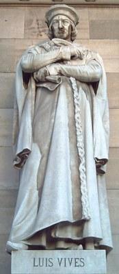 Juan Luis Vives  (1492-1540), Mamorstatur im Eingang der spanischen Nationalbibliothek, , 1892, Madird, Künstler: Pere Carbonell Huguet (1854–1927), Fotograf: Luis García, Bildquelle: http://en.wikipedia.org/wiki/File:Luis_Vives_%28Pere_Carbonell%29_Madrid_01.jpg