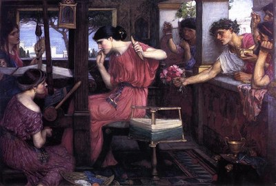 John William Waterhouse (1849–1917),  Penelope and the Suitors, 1912