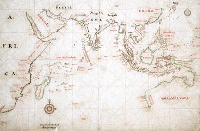 Karte des Handelsgebiets der Vereinigten Ostindischen Companie; Zeichnung, um 1665, unbekannter Künstler; Bildquelle: Nationaal Archief, Ref. 4.VEL-312, www.nationaalarchief.nl.