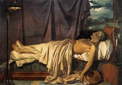 Joseph Dionysius Odevaere (1775–1830), Tod des Lord Byron, Öl auf Leinwand, 166x234,5 cm, circa. 1826; Bildquelle: Musea Brugge © Lukas-Art in Flanders, photo Hugo Maertens.