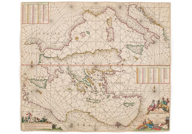 Sjökort över medelhavet, ca. 1681