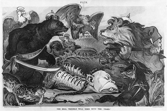 """Karikatur """"The Real trouble comes with the 'wake'"""" 1900 IMG"""