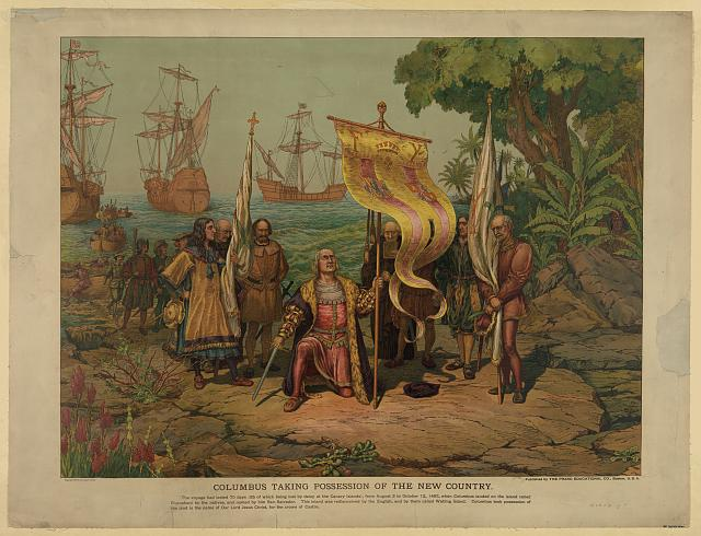 "Schulwandbild ""Columbus taking possession of the new country"" 1893 IMG"