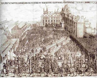 Aufschlagen: Szene mit Prozess des Cupido und Plankenstechen auf dem Burgplatz IMG