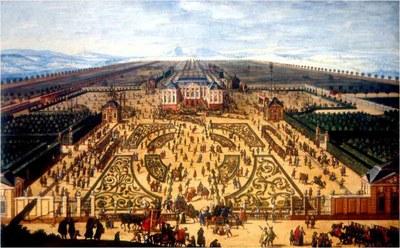 Gesamtansicht von Palais und Großem Garten während der Bauernwirtschaft am 25. Juni 1709 IMG