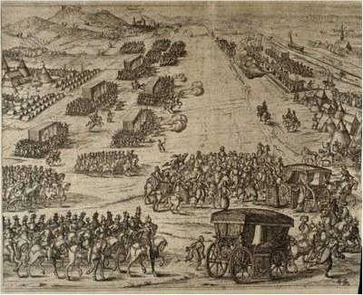 Heimholung Elisabeths von England durch den Kurfürsten Friedrich V. von der Pfalz vor der Stadt Heidelberg IMG