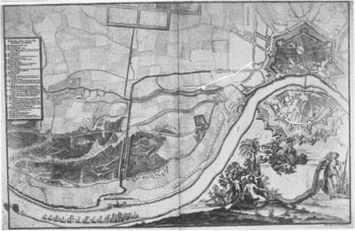 Plan von Dresden mit Einzeichnungen von Aufmarsch- und Festplätzen anläßlich der Vermählung des Kurprinzen Friedrich August mit Maria Josepha 1719 IMG