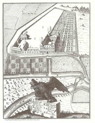 Berlin, Charité, Schumannstraße 20–21, Lageplan mit perspektivischer Ansicht des Krankenhauses IMG