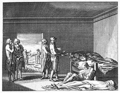 Ein Teil eines Pest-Lazarets. Ein Toter, Kranke, ein Arzt, ein Aufwärter, Freunde, Postierung IMG