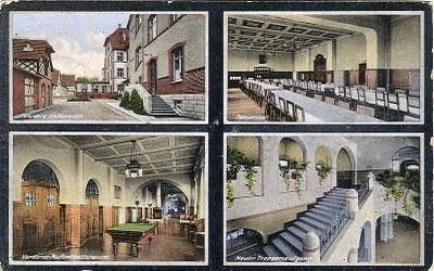 Partien der Nürnberger Heilstätte in Engelthal: Vordere Hofansicht – Speisesaal – Vorderer Aufenthaltsraum – Neuer Treppenaufgang IMG