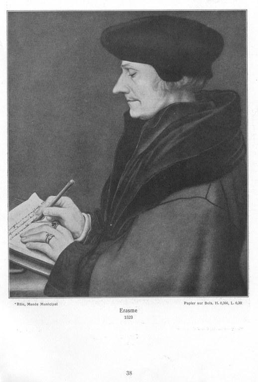 Hans Holbein d. J. (1497-1543), Porträt des Erasmus von Rotterdam, 1523; Bildquelle: Hans Holbein le jeune: L'œuvre du maitre. Paris, Librairie Hachette & Cie., 1912.