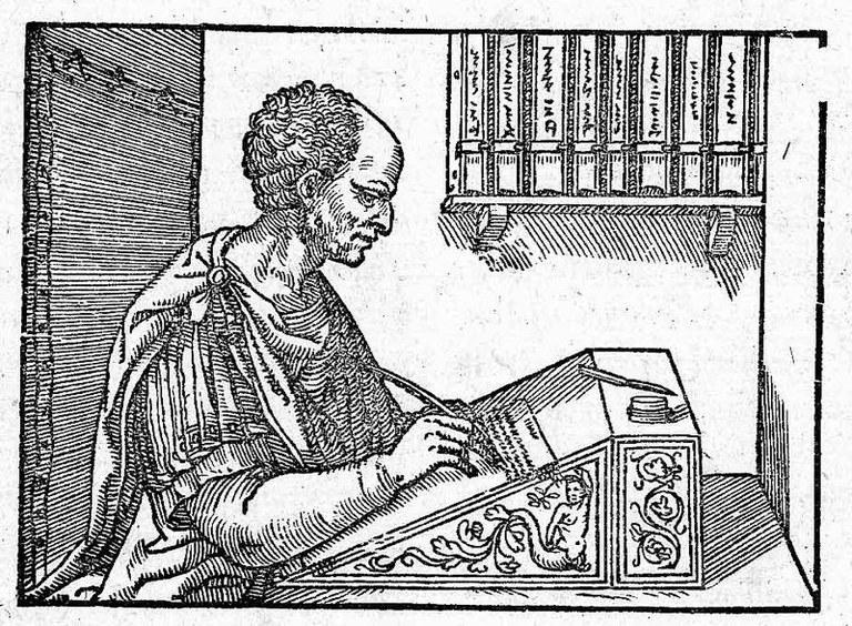 Unknown artist, Cicero writing his letters, woodcut, 1547. Source: Cicero: Epistulae ad familiares, printed by Hieronymus Scotus (alias Girolamo Scoto), Venice 1547, Wikimedia Commons, http://commons.wikimedia.org/wiki/File:CiceroEpistulaeAdFamiliaresVenice1547page329Detail.jpg
