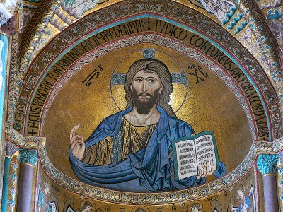 Christ Pantokrator in the apse of the Cathedral of Cefalù, Sicily, Italy