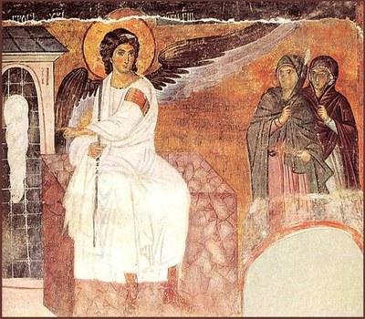 Archangel Gabriel outside Jesus' tomb after the resurrection