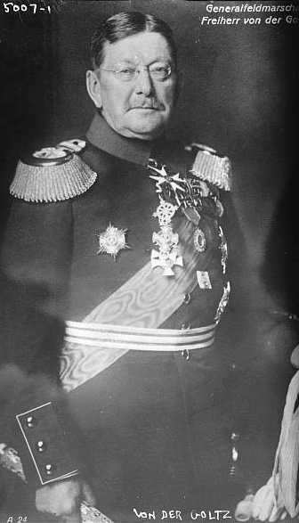 Colmar Freiherr von den Goltz (1843–1916), black-and-white photograph, unknown photographer, date unknown [between 1911–1916], source: Library of Congress, Prints and Photographs Division Washington, http://hdl.loc.gov/loc.pnp/ggbain.29293.