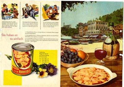 Werbeanzeige der Firma Maggi für Dosenravioli, Deutschland 1960; Bildquelle: Mit freundlicher Genehmigung der Maggi GmbH; © Maggi GmbH.