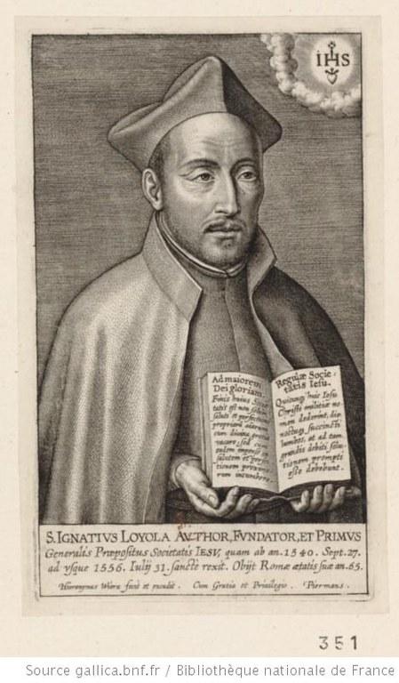 Wierix, Hieronymus (ca. 1553-1619), Porträt des heiligen Ignatius von Loyola, Kupferstich [o.J.]; Bildquelle: www.gallica.fr; Permalink: http://gallica.bnf.fr/ark:/12148/btv1b8400381j.item.f1