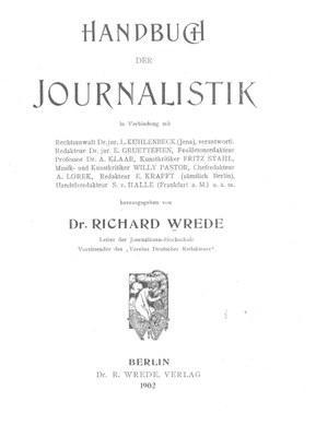 Handbuch der Journalistik 1902