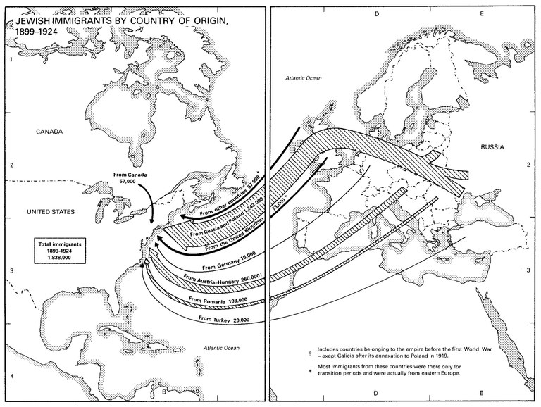 "Karte: ""Jewish Immigrants by Country of Origin, 1899-1924""; Bildquelle: Dan Cohn-Sherbok: ""Judaism: History, Belief & Practice"", London u.a. 2003. (Verlag: Routledge). http://cw.routledge.com/textbooks/0415236614/resources/maps/map60.jpg"
