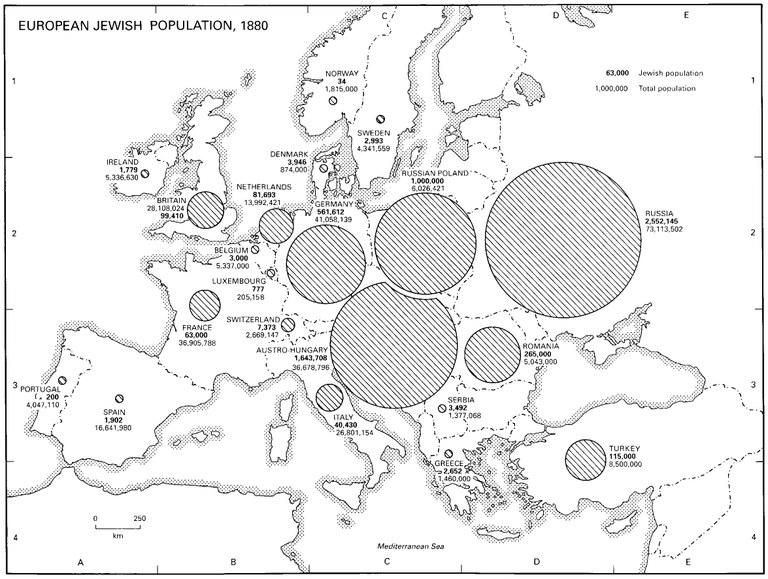 "Karte: ""European Jewish Population, 1880""; Bildquelle: Dan Cohn-Sherbok: ""Judaism: History, Belief & Practice"", London u.a. 2003. (Verlag: Routledge). http://cw.routledge.com/textbooks/0415236614/resources/maps/map57.jpg"