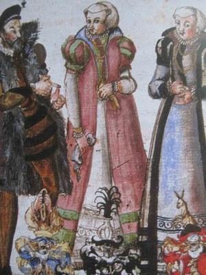 """Philipp Eisenberger (1548-1607), """"Friderich Rorbach seine zwey Eheliche weyber"""", Chronik Eisenberger, 16 Jh.; Bildquelle: Schloßbibliothek Pommersfelden/Stiftung Schloss Weissenstein."""