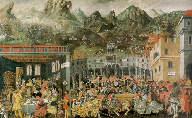 Jörg Breu (1480–1537), Augsburger Monatsbilder: Januar, Februar, März, 212 x 350 cm, zwischen 1531 und 1550; Bildquelle: © Deutsches Historisches Museum Berlin.
