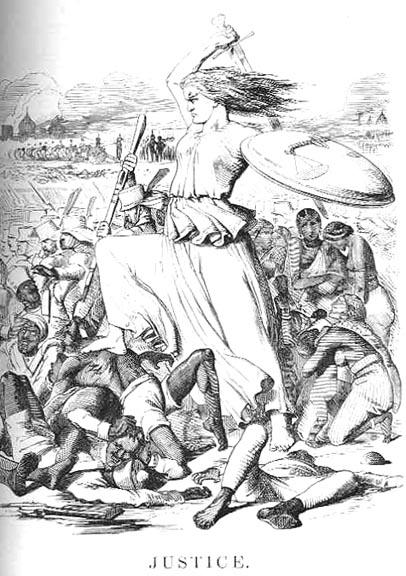 """John Tenniel (1820–1914), """"Justice"""", Karikatur, Großbritannien, 1857; Bildquelle: Punch Magazine vom September 1857; Bildquelle: wikimedia commons, http://en.wikipedia.org/wiki/File:JusticeTenniel1857Punch.jpg, gemeinfrei."""