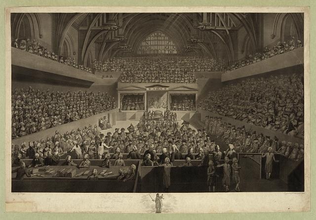 """""""A view of the tryal of Warren Hastings Esqr. before the Court of Peers in Westminster Hall on an impeachment delivered at the Bar of the House of Lords by the Commons of Great Britain in Parliament assembled February 13, 1788"""", Aquatinta-Radierung nach einer Zeichnung von Edward Dayes (1763–1804), 1789, Radierung: Robert Pollard (1755-1838), Aquatinta: Francis Jukes (1745–1812); Bildquelle: Library of Congress, Prints and Photographs Division Washington, http://hdl.loc.gov/loc.pnp/pga.03196."""