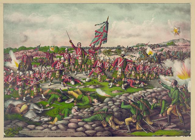 """""""Battle of Belmont. Nov. 23D 1899. Boer-British War"""", Chromolithographie, USA, ohne Datum (um 1899), unbekannter Künstler, Verleger: Kurz & Allison, Chicago; Bildquelle: Library of Congress, Prints and Photographs Division Washington, http://www.loc.gov/pictures/item/2003656549."""