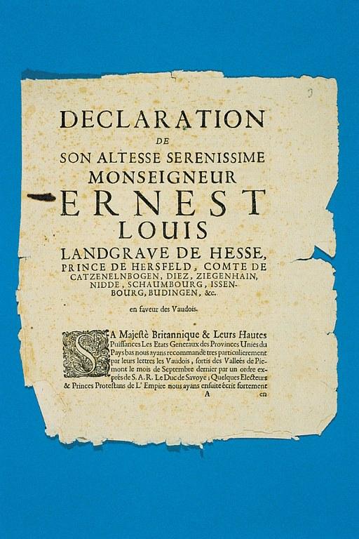 Das Waldenserprivileg (erlassen am 22. April 1699) von Landgraf Ernst Ludwig von Hessen-Darmstadt (1667–1739), Bildquelle: Mit freundlicher Genehmigung des Henri-Arnaud-Hauses Ötisheim-Schönenberg.