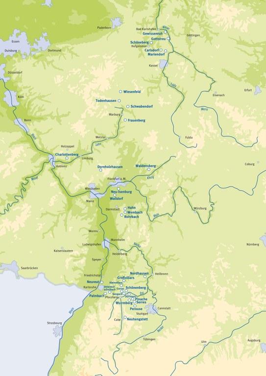 Karte der Waldenserkolonien in Deutschland, Entwurf: Dignus, Bad Boll; Bildquelle:  Mit freundlicher Genehmigung des Henri-Arnaud-Hauses Ötisheim-Schönenberg.
