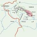 Karte: Die Waldensertäler im 17. Jahrhundert, die Grenze zwischen Frankreich und Savoyen-Piemont bis 1713 und die heutige Grenze, Bildquelle: Mit freundlicher Genehmigung des Henri-Arnaud-Hauses Ötisheim-Schönenberg.